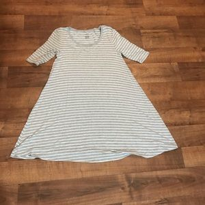 Gray and white casual knee length swing dress